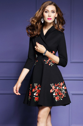 Nihaostyle Clothing Wholesale Autumn And Winter New Style V-neck Embroidered Dress NSOUY65755