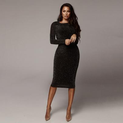 Sexy Round Neck Slim Long Dress Wholesale Women's Clothing Nihaostyles NSHTL68313