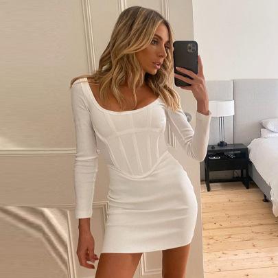 Casual Solid Color Bag Hip Low-cut Slim Short Dress Wholesale Women's Clothing Nihaostyles NSHLJ68335