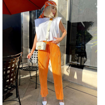 Casual Solid Color Folds Low Split Street Trousers Wholesale Women's Clothing Nihaostyles NSHLJ68342