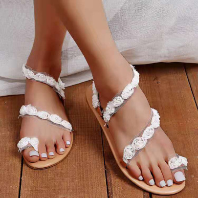 Flower Lace White Sandals Wholesale Women's Clothing Nihaostyles NSHYR68355