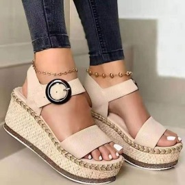 Leopard-print Linen Buckle Wedge Sandals Wholesale Women's Clothing Nihaostyles NSHYR68358