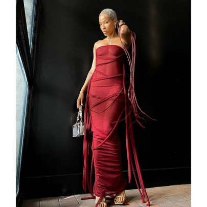 Women's Spring New Solid Color Tassel Drawstring Long Dress Nihaostyle Clothing Wholesale NSMG68401