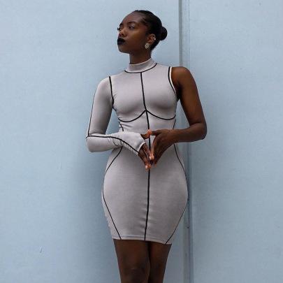 New Contrast Line Half-high Collar Single-sleeve Dress Nihaostyle Clothing Wholesale NSMG68411