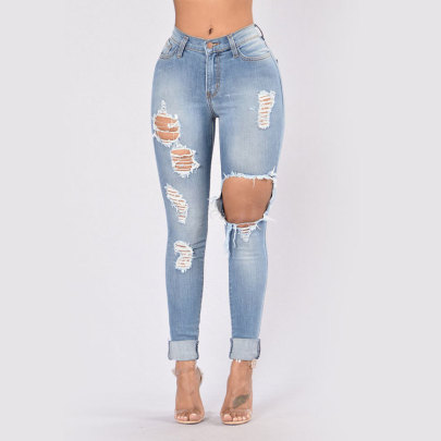 High Waist High Elastic Hole Jeans Nihaostyle Clothing Wholesale NSWL68432