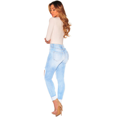 Spring/Summer New Stretch Ripped Jeans Nihaostyle Clothing Wholesale NSWL68439