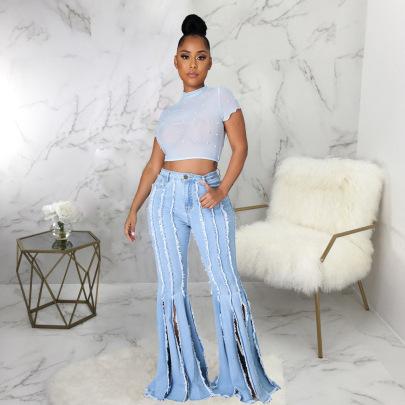 Fashion Wild Fringed Stretch Denim Flared Pants Wholesale Women's Clothing Nihaostyles NSSF68446