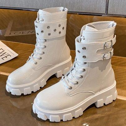 White Motorcycle Boots Wholesale Women's Clothing Nihaostyles NSZSC68474