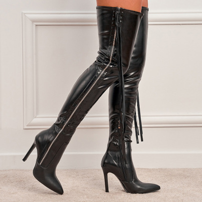 Pointed High-heeled Zipper Fringed Stovepipe Boots Wholesale Women's Clothing Nihaostyles NSSO68498