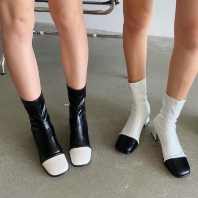New Fashion Thick-heeled Square Toe Color Matching Short Boots Nihaostyle Clothing Wholesale NSHU68514