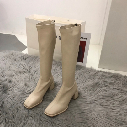 Block Heel Square Toe Over The Knee Leather Boots Wholesale Clothing Vendor Nihaostyles NSYUS68703