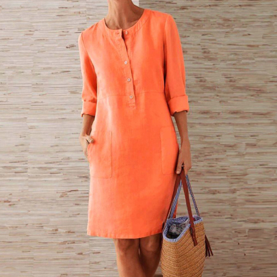 Round Neck Solid Color Long-sleeved Dress Wholesale Clothing Vendor Nihaostyles NSXIA68780