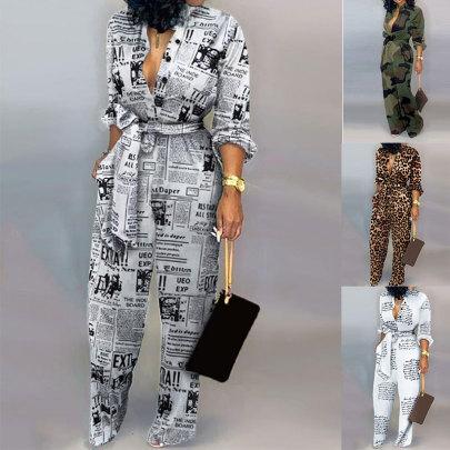 Alphabet Print Leopard Print Camouflage Jumpsuit Wholesale Clothing Vendor Nihaostyles NSSUO68725