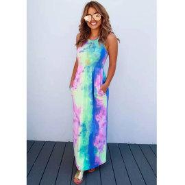 Casual Sleeveless Pocket Printed Tie-dye Gradient Dress Wholesale Clothing Vendor Nihaostyles NSJIM68733