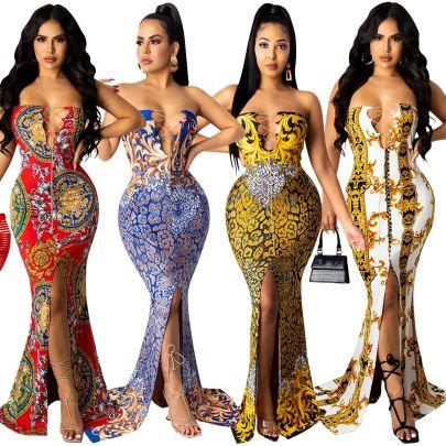 Fashion Print Sleeveless Long Skirt Dress Nihaostyle Clothing Wholesale NSXYZ68543