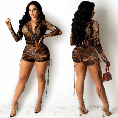 Sexy Print Long-sleeved Zipper V-neck Shorts Jumpsuit Nihaostyle Clothing Wholesale NSXYZ68551