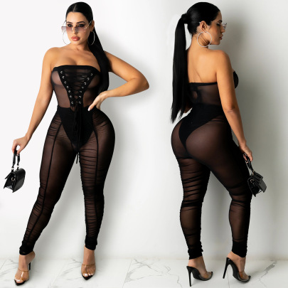 Solid Color Wrapped Chest Sexy See-through Jumpsuit Nihaostyle Clothing Wholesale NSXYZ68563