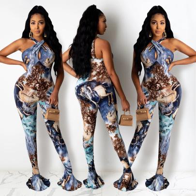 Women's Printing Horn Jumpsuit Nihaostyle Clothing Wholesale NSXYZ68580