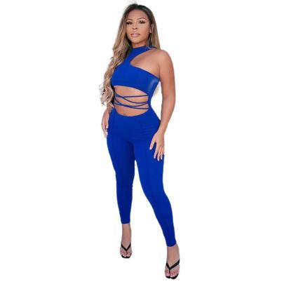 Asymmetrical Top Zipper Jumpsuit Wholesale Clothing Vendor Nihaostyles NSYNS68607