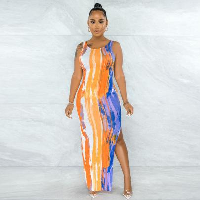 Print Sexy Waist Dress Wholesale Clothing Vendor Nihaostyles NSYNS68611