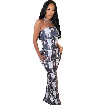 Digital Positioning Printed Head Long Dress Wholesale Clothing Vendor Nihaostyles NSYNS68614