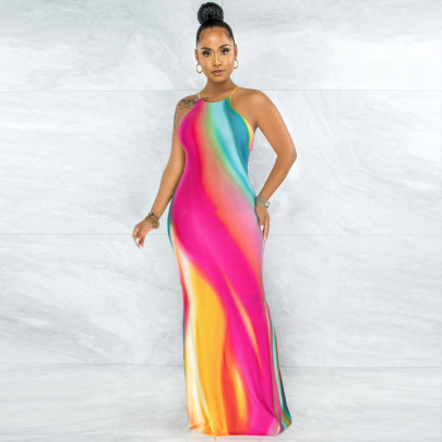 Positioning Printing Open Back Tie Rope Sexy Dress Wholesale Clothing Vendor Nihaostyles NSYNS68619