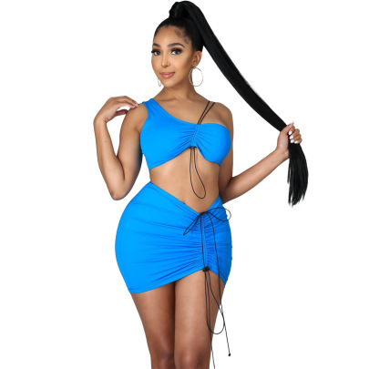 One-shoulder Drawstring Sexy Skirt Two-piece Set Wholesale Clothing Vendor Nihaostyles NSYNS68620