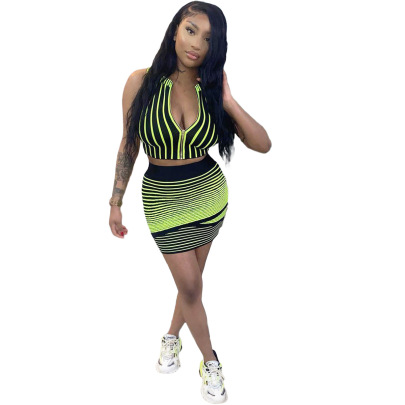 Digital Positioning Printing Striped Skirt Two-piece Set Wholesale Clothing Vendor Nihaostyles NSYNS68621
