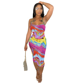 Tie-dye Sling Sexy Long Dress Wholesale Clothing Vendor Nihaostyles NSYNS68622
