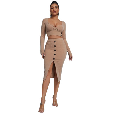 Sexy Solid Color Buckle Skirt Set Wholesale Clothing Vendor Nihaostyles NSYNS68624