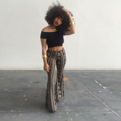 New Women's Bohemian Style Micro-flared Pants Nihaostyle Clothing Wholesale NSMYF68671