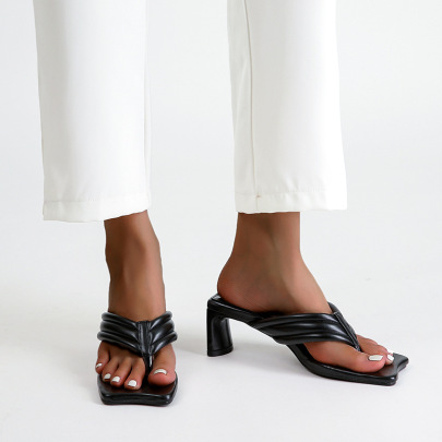 Square Toe Flip-flops Thick Heel Sandals Nihaostyle Clothing Wholesale NSSO68811