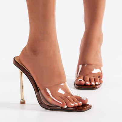 Transparent High-heeled Square Toe Sandals Nihaostyle Clothing Wholesale NSSO68813