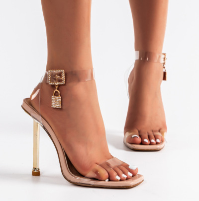 High-heeled Square Toe Transparent Sandals Nihaostyle Clothing Wholesale NSSO68814