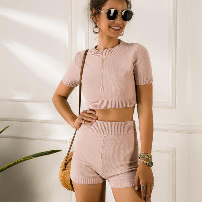 Short-sleeved Plush Suit Shorts Two-piece Set Wholesale Clothing Vendor Nihaostyles NSYX68821