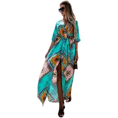 Fashion Bandage Waist Printing Dress Wholesale Clothing Vendor Nihaostyles NSYF68832