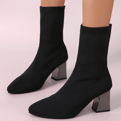 Chunky Heel Pointed Short Boots Wholesale Clothing Vendor Nihaostyles NSYUS68972