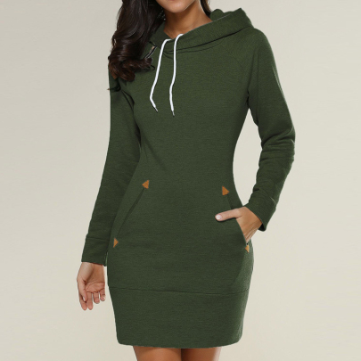 New Hooded Zipper Mid-length Sweater Dress Nihaostyle Clothing Wholesale NSYID68967