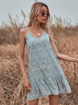 V-neck Printed Sling Dress Nihaostyle Clothing Wholesale NSOUY69194