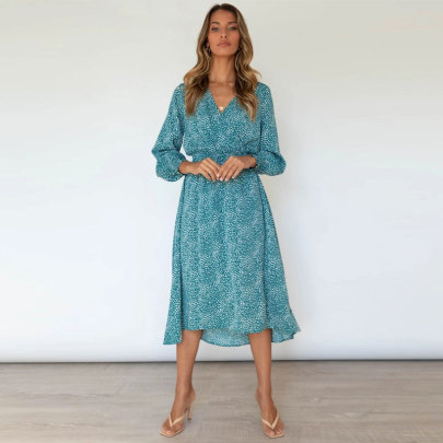 Fall New Style V-neck Long-sleeved Printed Dress Nihaostyle Clothing Wholesale NSJC68971