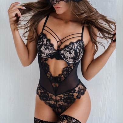 Lace Stitching Sling Cross Sexy One-piece Lingerie Wholesale Clothing Vendor Nihaostyles NSWY69080