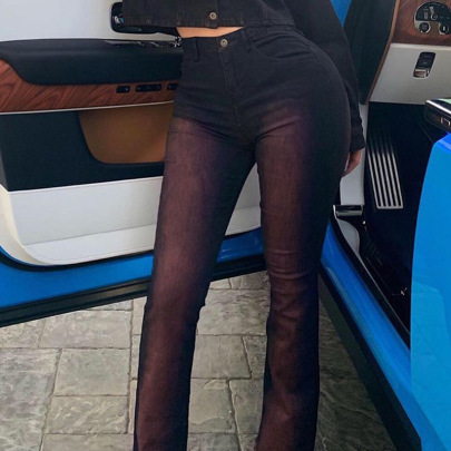 New Black Stretch Women's Denim Flared Pants Nihaostyle Clothing Wholesale NSTH69110