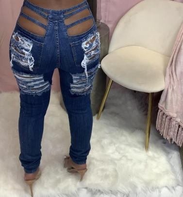 New Frayed Elastic Ripped Jeans Nihaostyle Clothing Wholesale NSTH69146