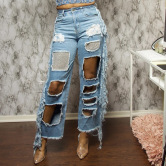 New Ripped Women's Straight-leg Pants Nihaostyle Clothing Wholesale NSTH69153