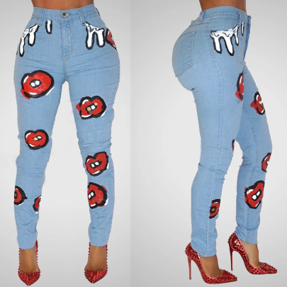 New Printed Stretch Jeans Nihaostyle Clothing Wholesale NSTH69162
