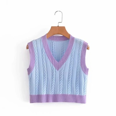 Contrasting Color Stitching Knitted Vest Nihaostyle Clothing Wholesale NSHS69168