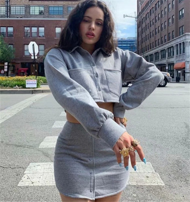 Autumn New Small Blouse + Solid Color Hip Skirt Two-piece Set Nihaostyle Clothing Wholesale NSHS69170