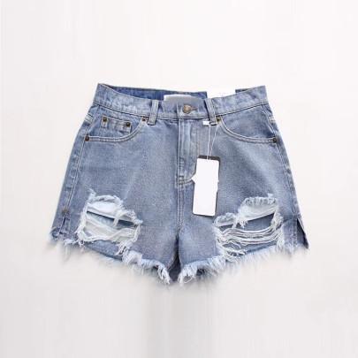 New Raw-edge Ripped Denim Shorts Nihaostyle Clothing Wholesale NSHS69175