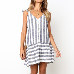 Women's Striped Sleeveless Casual Suspender Dress Nihaostyle Clothing Wholesale NSJR69179