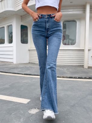 High Waist Spring And Autumn New Wide-leg Stretch Denim Flared Pants Nihaostyle Clothing Wholesale NSOUY69307